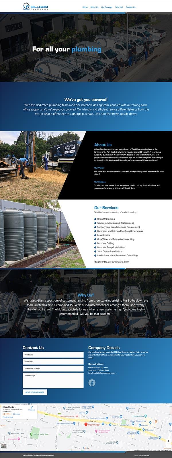 Billson Plumbers Website Thumbnail